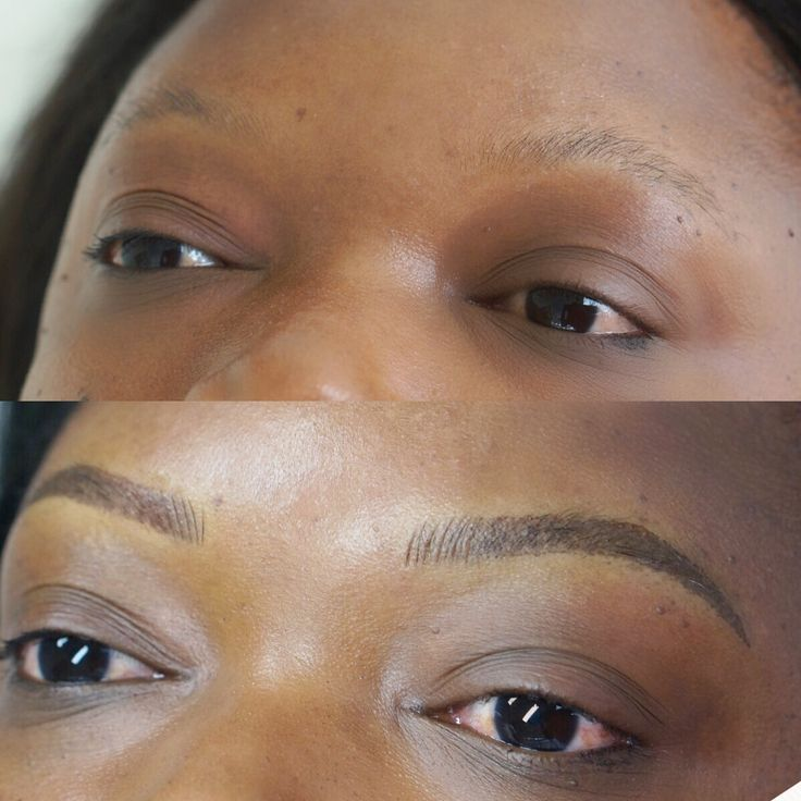 Combination of Microblading and Shading. Soft powder brows ...