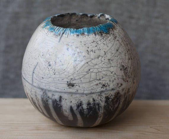 Ceramic ball raku white blue black crakle handmade OOAK