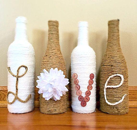 Love Twine Wrapped Wine Bottles Wine Bottle by BienzCraftBoutique