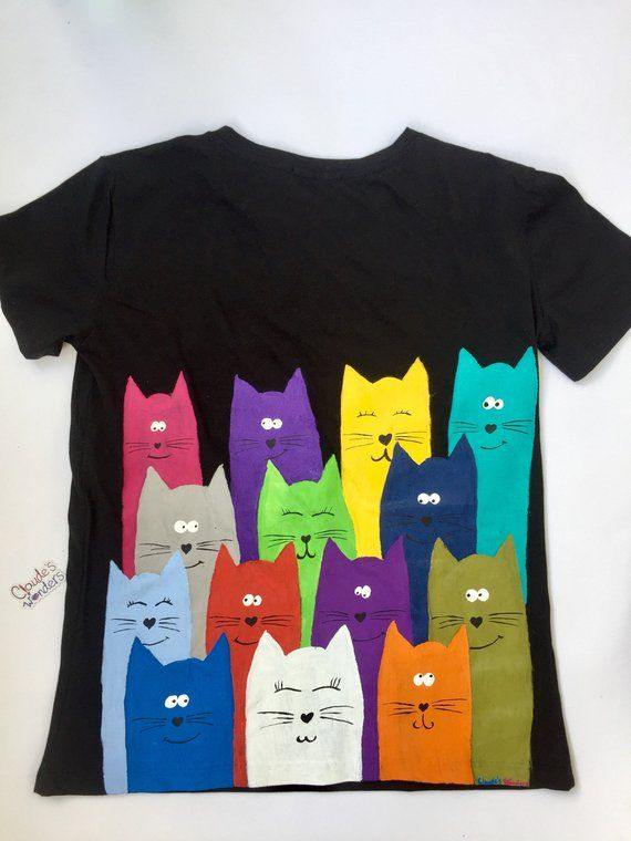 Original top Art T-shirt Top art Animal T-shirt Top animal Top Cat T-shirt T-shirt Cat Painted T-Shirt Top cat Painted T-shirt