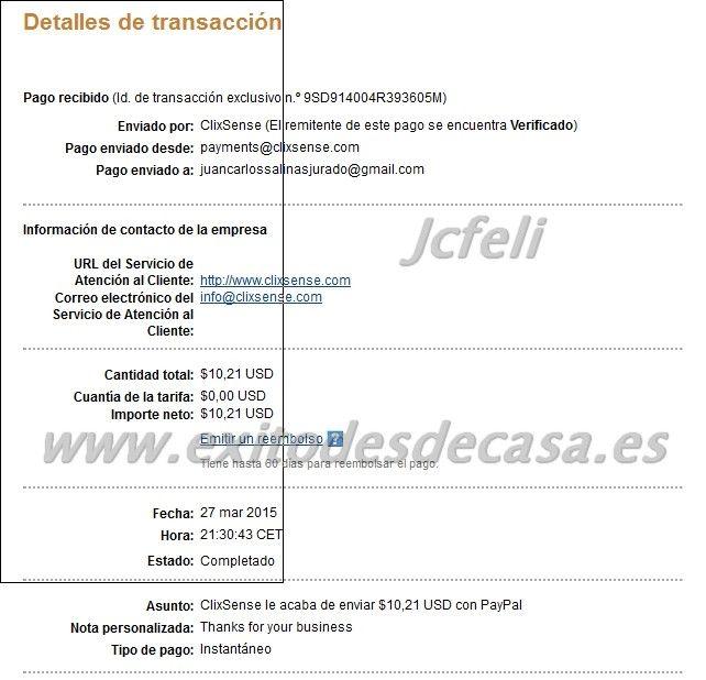 Comprobantes de pago de Clixsense | Dinero en la Red