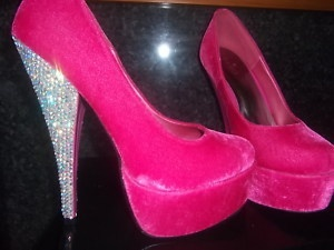 Pink suede with sparkly heel