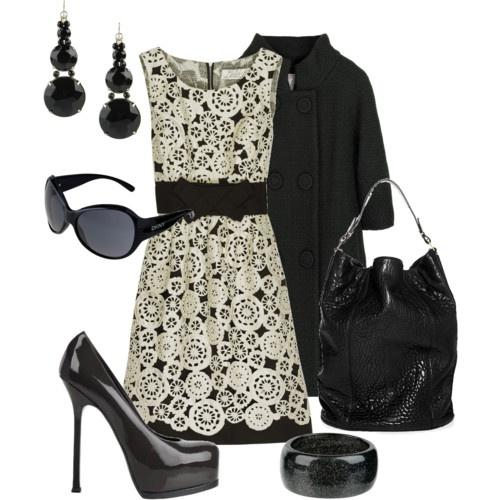 pretty black and white dress: Fashion, Style, Black And White, Dresses, White Outfits, Black White, Date Nights, Closet, Classic Black