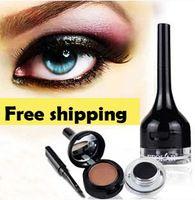 VENTA CALIENTE del maquillaje de alta calidad a prueba de agua ojo gel delineador de ojos negro crema forro de cejas marrón 2pcs polvo / lot envío libre