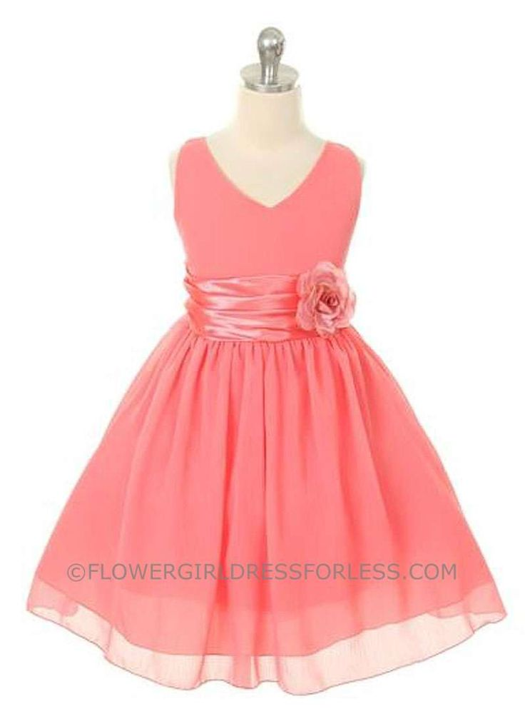 Flower Girl Dress Style 1082- Coral Crepe Dress with Charmeuse Waist Sash $49.99