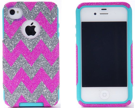 SALE iPhone 4 Case - iPhone 4 Otterbox Cover -  Glitter Hot Pink/Silver Custom Chevron Pattern Case for iPhone 4S - iPhone 4S Cover