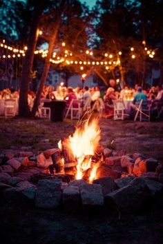 Bonfires at weddings make amazing pictures | Kristen & Paigh's gorgeous backyard Virginia wedding | Images by What a Lovely Photo