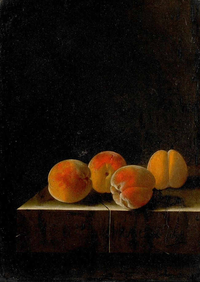 ✨ Adriaen Coorte, Dutch (ca. 1665 - after 1707) - Still Life: Four Apricots On Stone Pedestal, 1698, oil painting