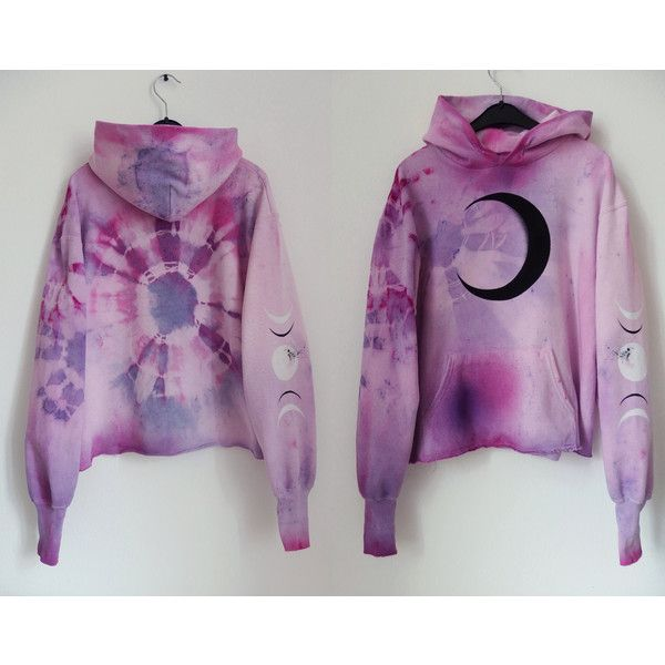 Cosmic Dmt Fairy Pastel Tie Dye Hoodie Moon Hoodie Xs Lavender Lilac... ($74) ❤ liked on Polyvore featuring tops, hoodies, black, sweatshirts, women's clothing, cotton hoodie, tie dye hooded sweatshirt, long sleeve hoodie, sweatshirt hoodies and pink hooded sweatshirt