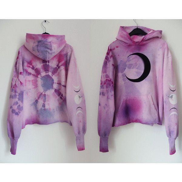 Cosmic Dmt Fairy Pastel Tie Dye Hoodie Moon Hoodie Xs Lavender Lilac... ($74) ❤ liked on Polyvore featuring tops, hoodies, black, sweatshirts, women's clothing, cotton hoodie, tie dye hooded sweatshirt, long sleeve hoodie, sweatshirt hoodies and pink hooded sweatshirt