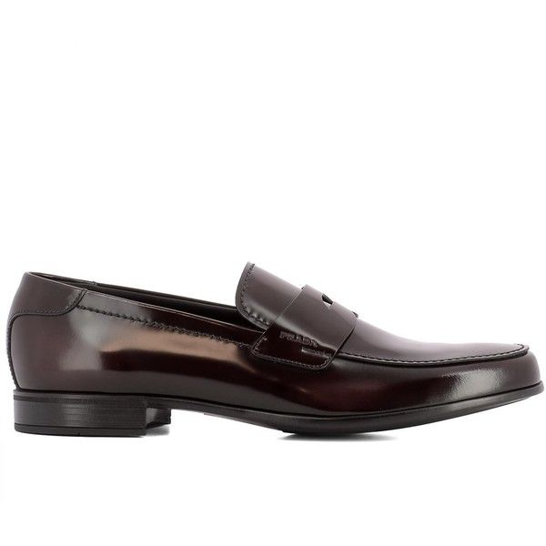 Prada Men's Brown Leather Loafers (35,000 DOP) ❤ liked on Polyvore featuring men's fashion, men's shoes, men's loafers, brown, shoes, mens loafer shoes, mens leather loafer shoes, mens leather loafers, mens brown leather shoes and prada mens shoes