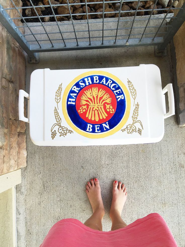 Miller lite with name cooler top