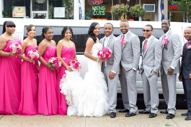 Hot Pink Wedding Bridal Party Fuchsia Mermaid Dress Ruffles