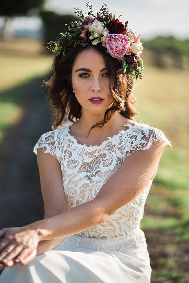 Romantic wedding makeup and hair with peony flower crown | This is Life Photography