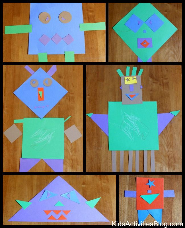 shape activities for preschoolers | What kind of monsters will you and your children create with shapes?