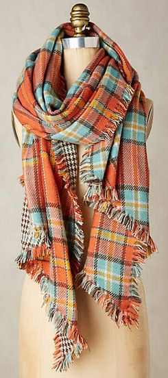 LOVE this orange plaid scarf for fall!
