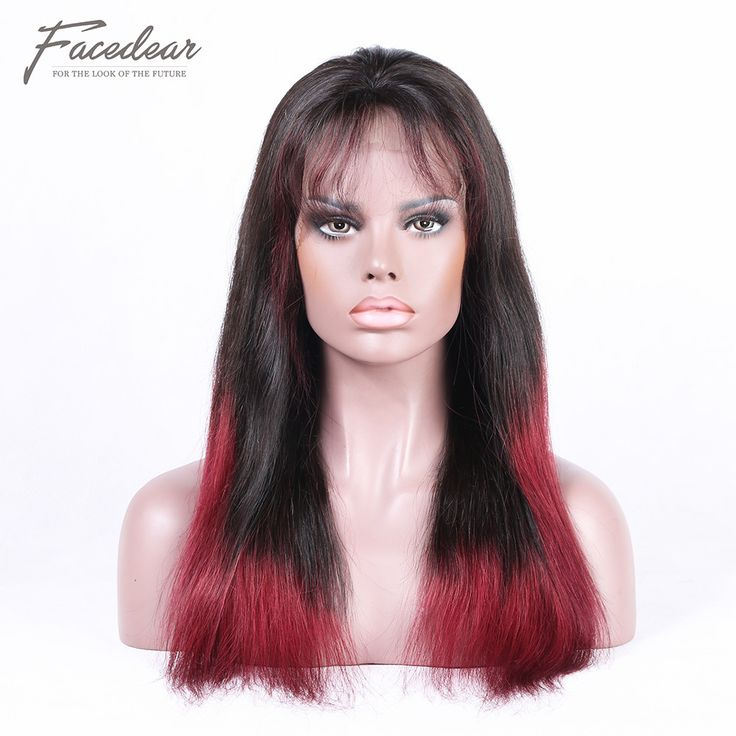 1#T118# Ombre Color Silk Straight Brazilian Hair Glueless Lace Wigs [CH1801]
