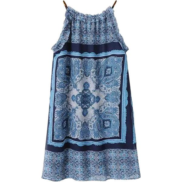 Multicolor Vintage Pattern Spaghetti Strap Sleeveless Dress ($20) ❤ liked on Polyvore featuring dresses, tops, vestidos, choies, sleeveless dress, blue sleeveless dress, no sleeve dress, colorful dresses and blue dress