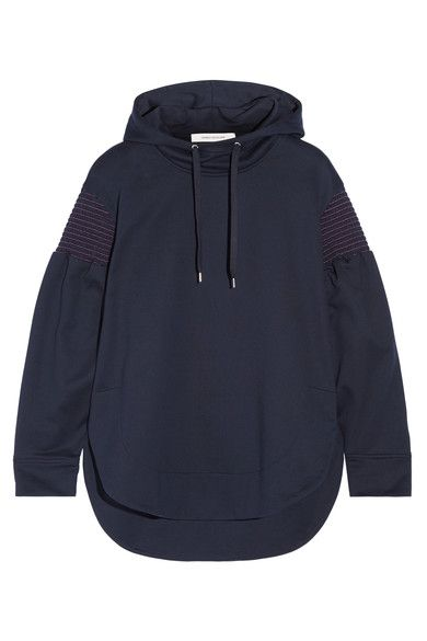 Cédric Charlier - Smocked Cotton-jersey Hooded Top - Navy