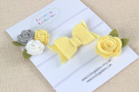 Yellow & Gray Felt Flower Bow Headband or Hair by LovebugLullabies