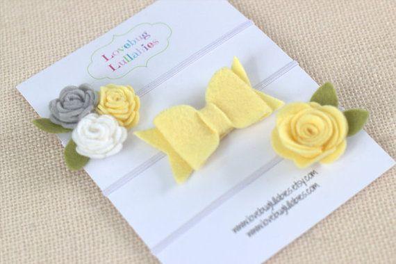 Yellow & Gray Felt Flower Bow Headband or Hair by LovebugLullabies