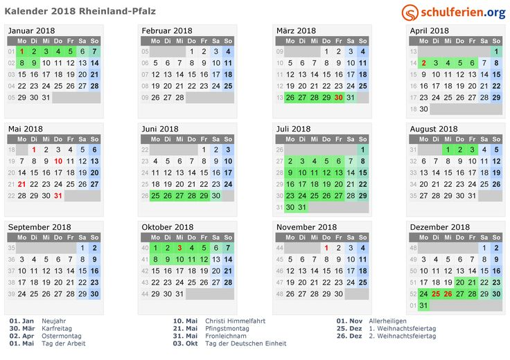 Kalender 2018 mit Ferien und Feiertagen Rheinland-Pfalz
