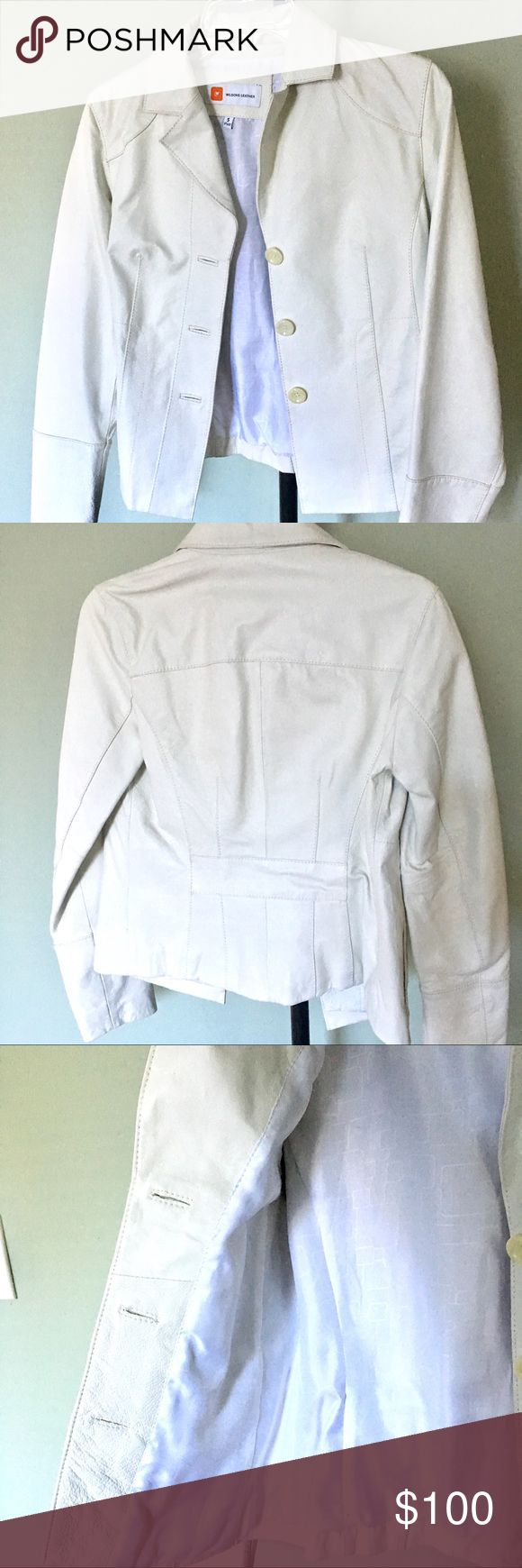 WILSON REAL LEATHER White Jacket fully lined SMALL A great and elegant REAL LEATHER jacket in WINTER WHITE. Size SMALL. Princess seams for a flattering fit. Very nicely structured Jacket. Hip length . Fully Lined and with 2 hidden pockets on the sides . One on each side. Brand New without tags condition and ready to ship. Reasonable offers considered but no lowballing please. Bundle 2+ items for additional discounts and to pay just one shipping charge. No trades please. Wilsons Leather…