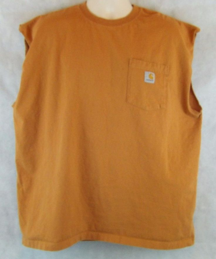 CARHARTT Workwear 100% Cotton Orangish Brown Sleeveless T-Shirt  Mens Size XL  #Carhartt #BasicTee