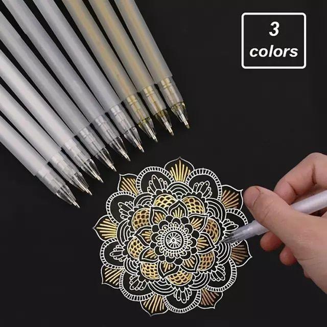 0.8mm Line Drawing Pen Sketching Pens Fine Point White Silver Gold Gel Pen Set