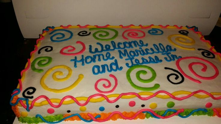 neon welcome home cake cake decorating pinterest