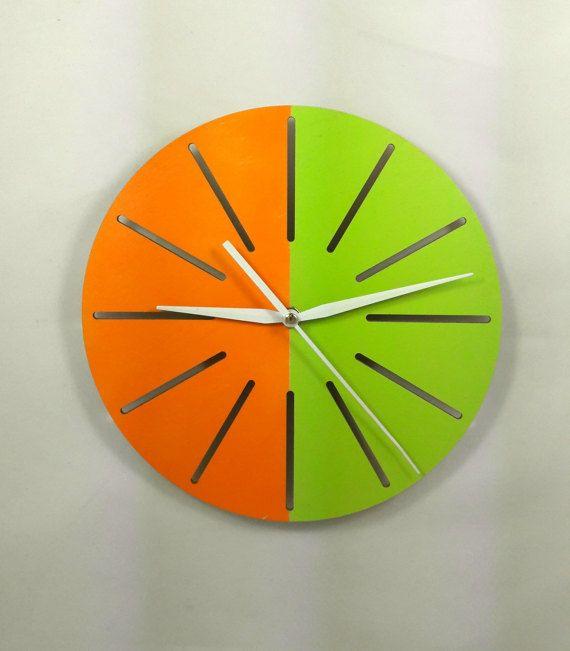 Minimal wood wall clock - Stripe Art - Home decor - Without numerals - Modern - Unique - Double colour - Interior  design - Half circle