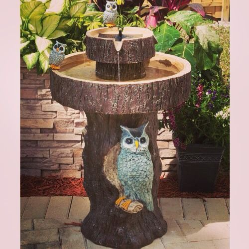 We love this owl fountain (TT-34253RM1)! Click our profile link for a coupon code! #wintersolstice #christmasweek #drwho #bedbathandbeyond #lowes #homedecor #decor #homedepot #garden #gardening #crafting #crafts #bird #birds #owl #owls #flowers