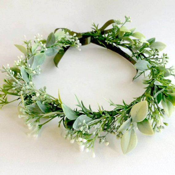 Babies breath floral crown snow crown green by innocentchaoscouk