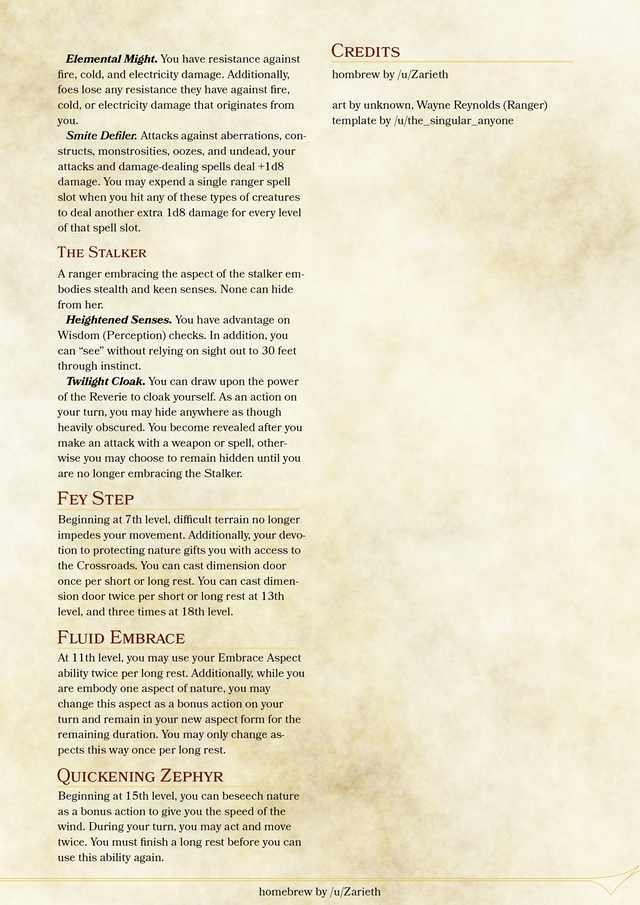 5e] Ranger Archetype - The Fey Warden - Feedback appreciated