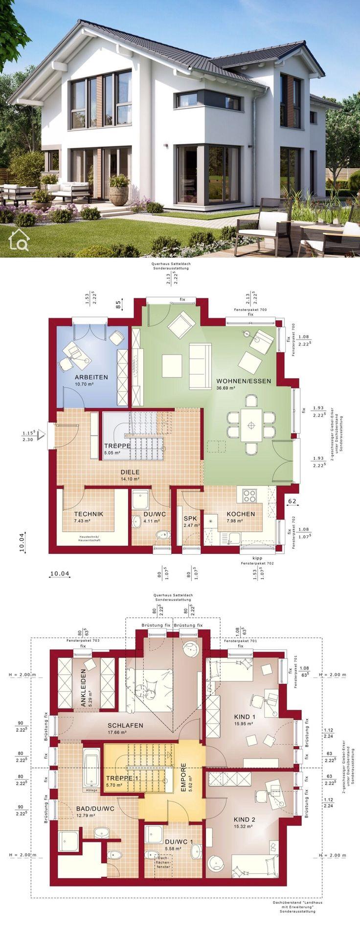 Einfamilienhaus Neubau modern mit flachem Sattelda…