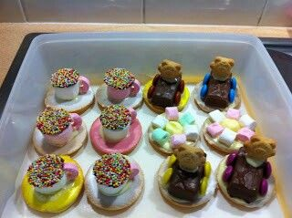 Bakers day... sweet teacups for kids ... teddy carts... flower maries