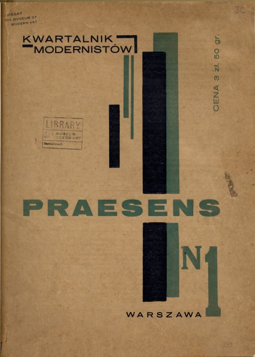 This first issue of Praesens was published in Warsaw (1926) and the cover was designed by Henryk Stażewski.