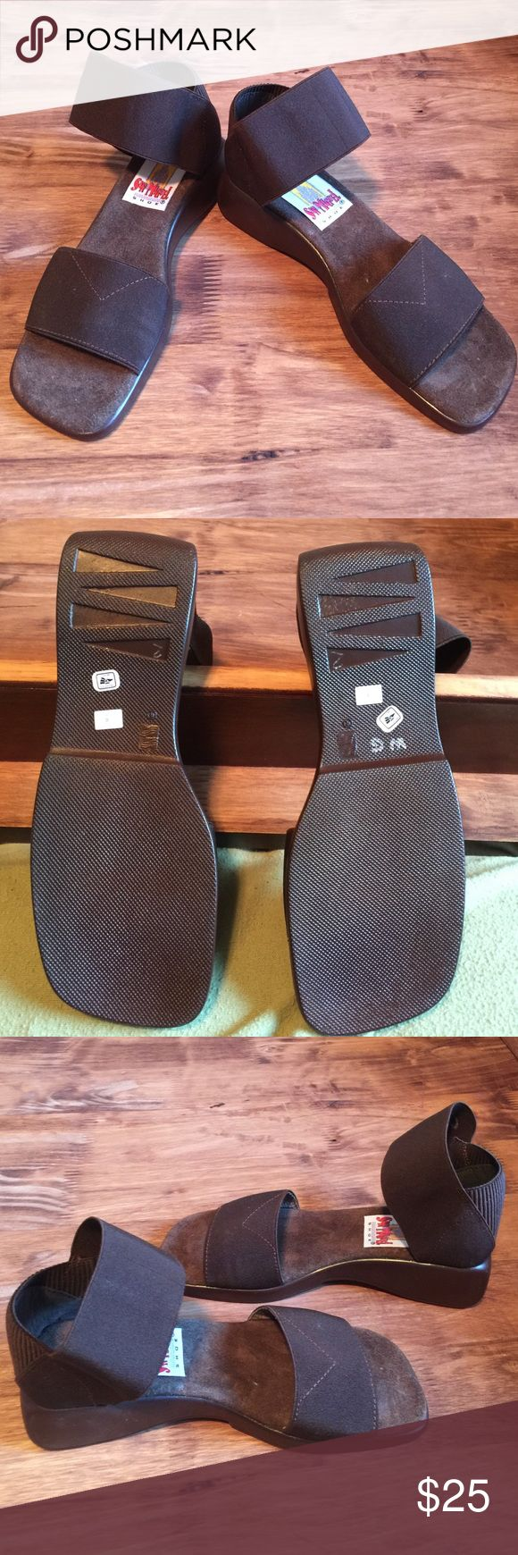 Comfy San Miguel open toe mules Elastic ankle strap & in the strap just above your toes for a custom, comfy fit. Brand new, no tags, never worn. They are not my size but wanted to give an idea of the fit/look. Listed at $88 on a website I Googled. 😳 San Miguel Shoes Mules & Clogs