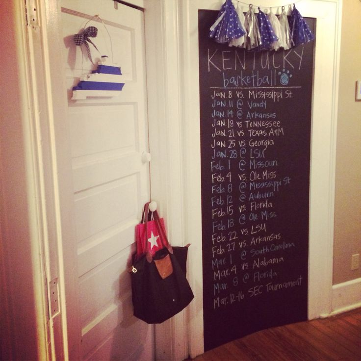 Kentucky basketball schedule on chalkboard wall