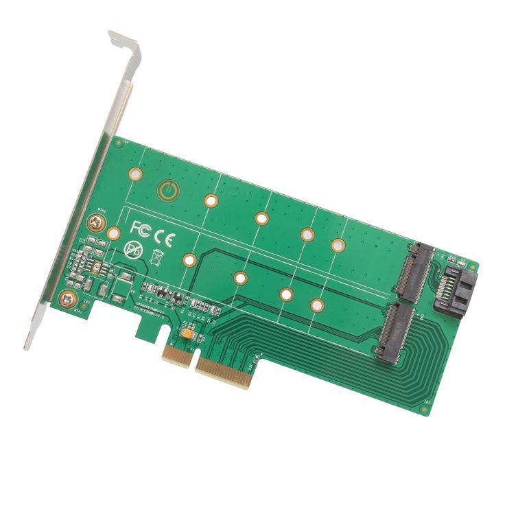 IOCrest 1 Slot M.2 M-Key and B-Key or Sata III PCI-Express 2.0 x4 Adapter Card #2354521