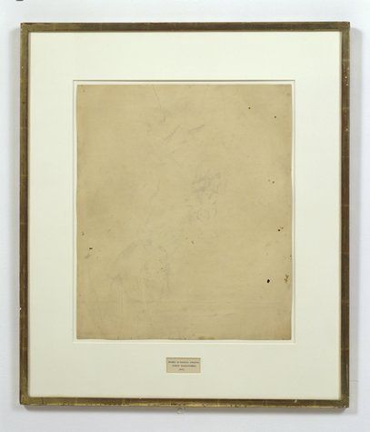 Robert Rauschenberg erased his buddy Willem de Kooning's drawing. It's amusing, and I first saw it a few years ago, but I didn't really become interested in commentary on it until NPR recently featured the work in a discussion on nothingness. 'Erased de Kooning Drawing', 1953, Rauschenberg.