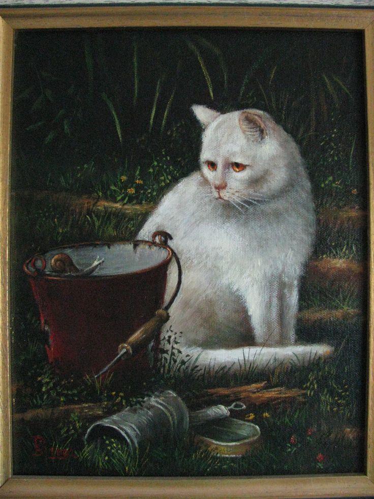 Schilderij linnen op paneel 34x30 Europese korthaar (wit) met gouden ogen, door Bernard van Rijthoven.
