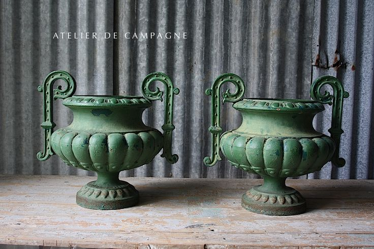 #25/205 PAIR FRENCH CAST IRON URNS