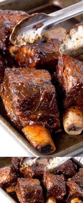 5 lbs Beef short ribs. 1 Garlic powder, Granulated. 1 Onion, large. 1 Onion powder. 2 cups Barbecue sauce. 1 tbsp Dijon mustard. 2 tbsp Honey. 1 Black pepper, ground. 1 Sea salt, fine. 1/2 can Beer.