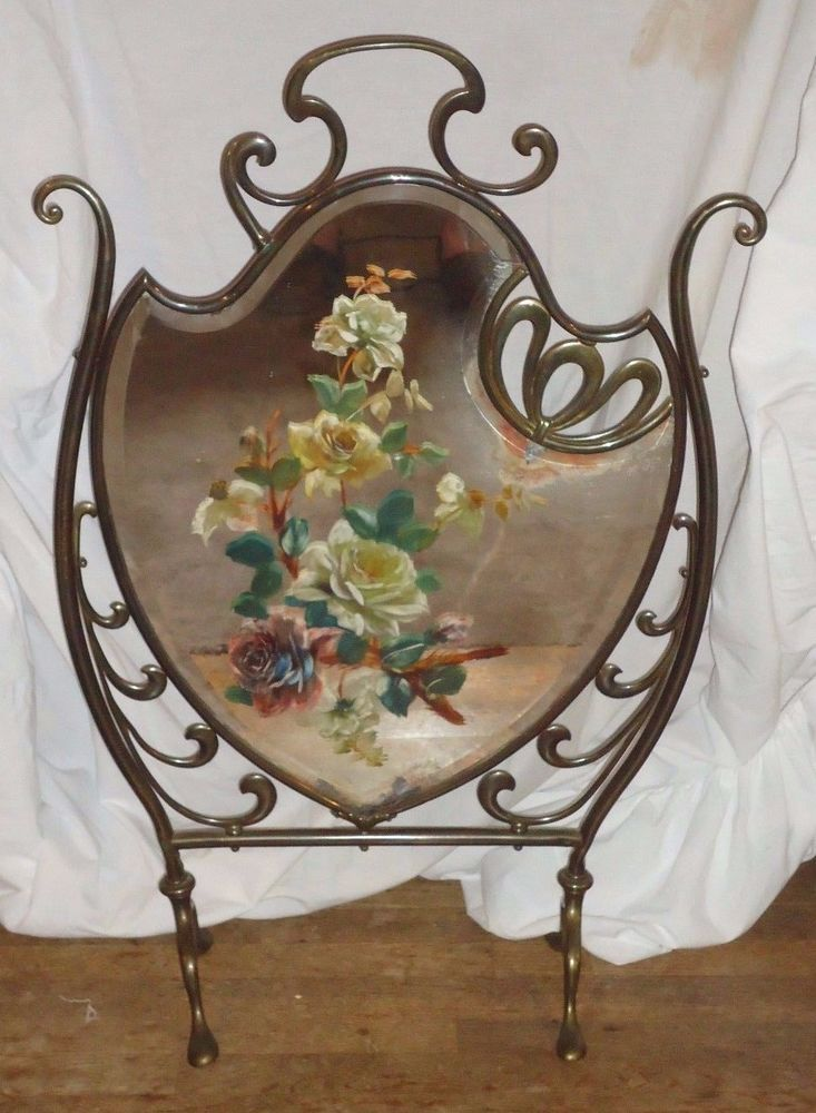 ANTIQUE VICTORIAN FIREPLACE SCREEN,HAND PAINTED ROSES ,MIRRORED FIREPLACE SCREEN #ATISAN
