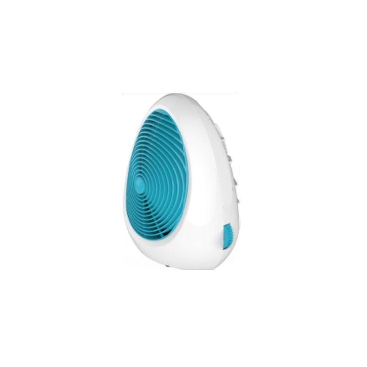 Biało-turkusowy termowentylator idealny dla osób, które lubią gdy jest im ciepło.