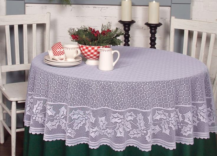 Christmas, Holiday Holly Vine Round Tablecloth In Red Or White
