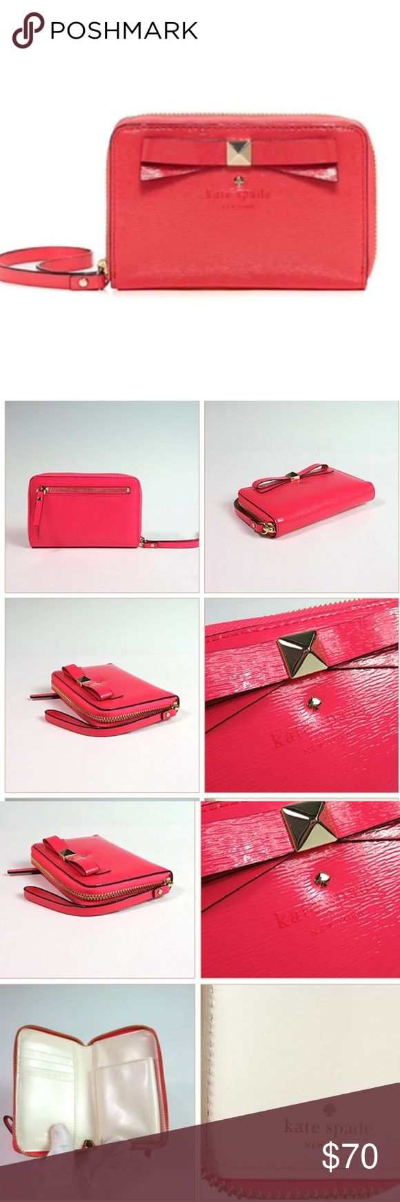 Kate Spade Beacon Court Louie Wristlet in mint condition; strawberry color; patent leather; holds iPhone 4/5; holds 5 cards; rear coin compartment; comes with original box and tags Kate Spade Bags Clutches & Wristlets
