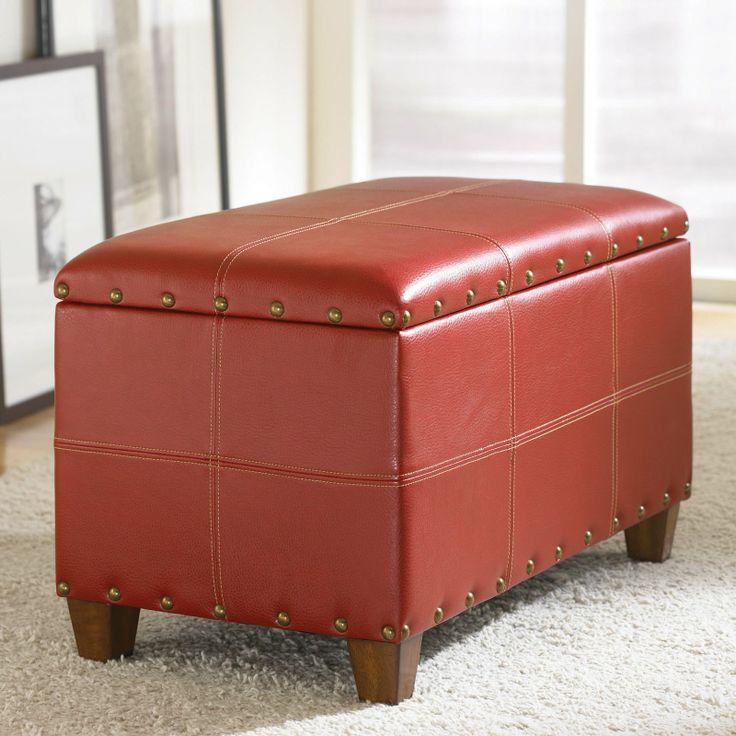 Hammary Hidden Treasures Storage Ottoman   Red $295