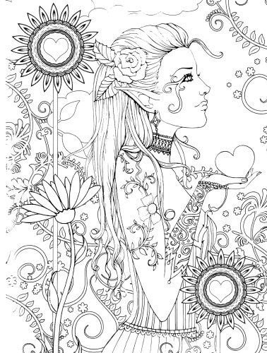 heart garden digital stamp printable hippie floral boho bohemian molly harrison fantasy art digistamp coloring page - Fantasy Coloring Pages Adults